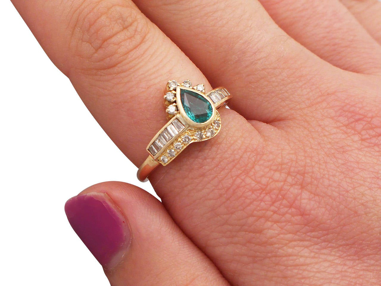 Emerald & Diamond Yellow Gold Cocktail Ring For Sale 4