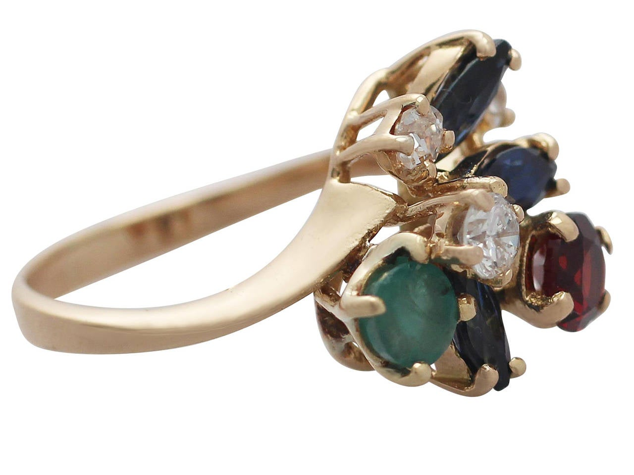 multi gemstone and yellow gold cocktail ring for