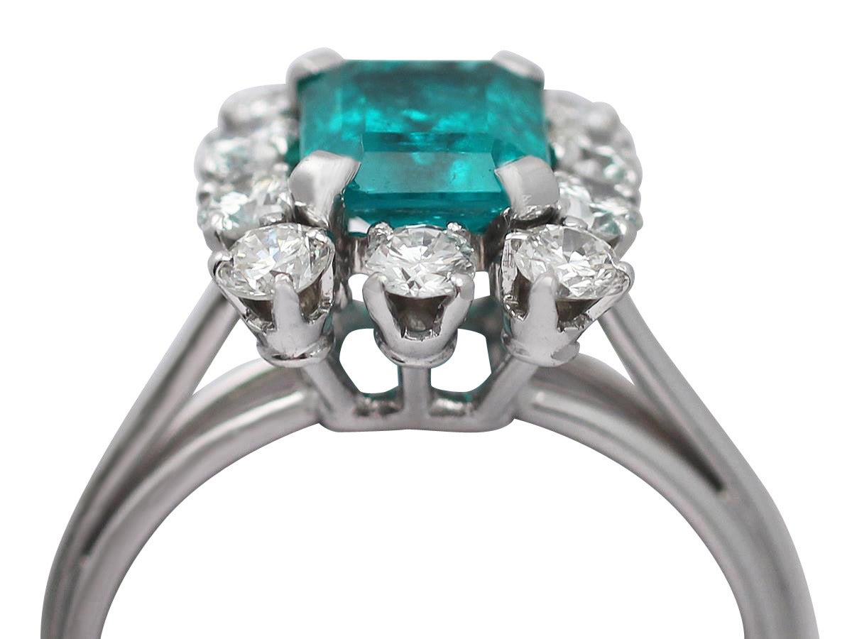 1.60Ct Emerald & 0.78Ct Diamond, Platinum Cluster Ring - Vintage French 2