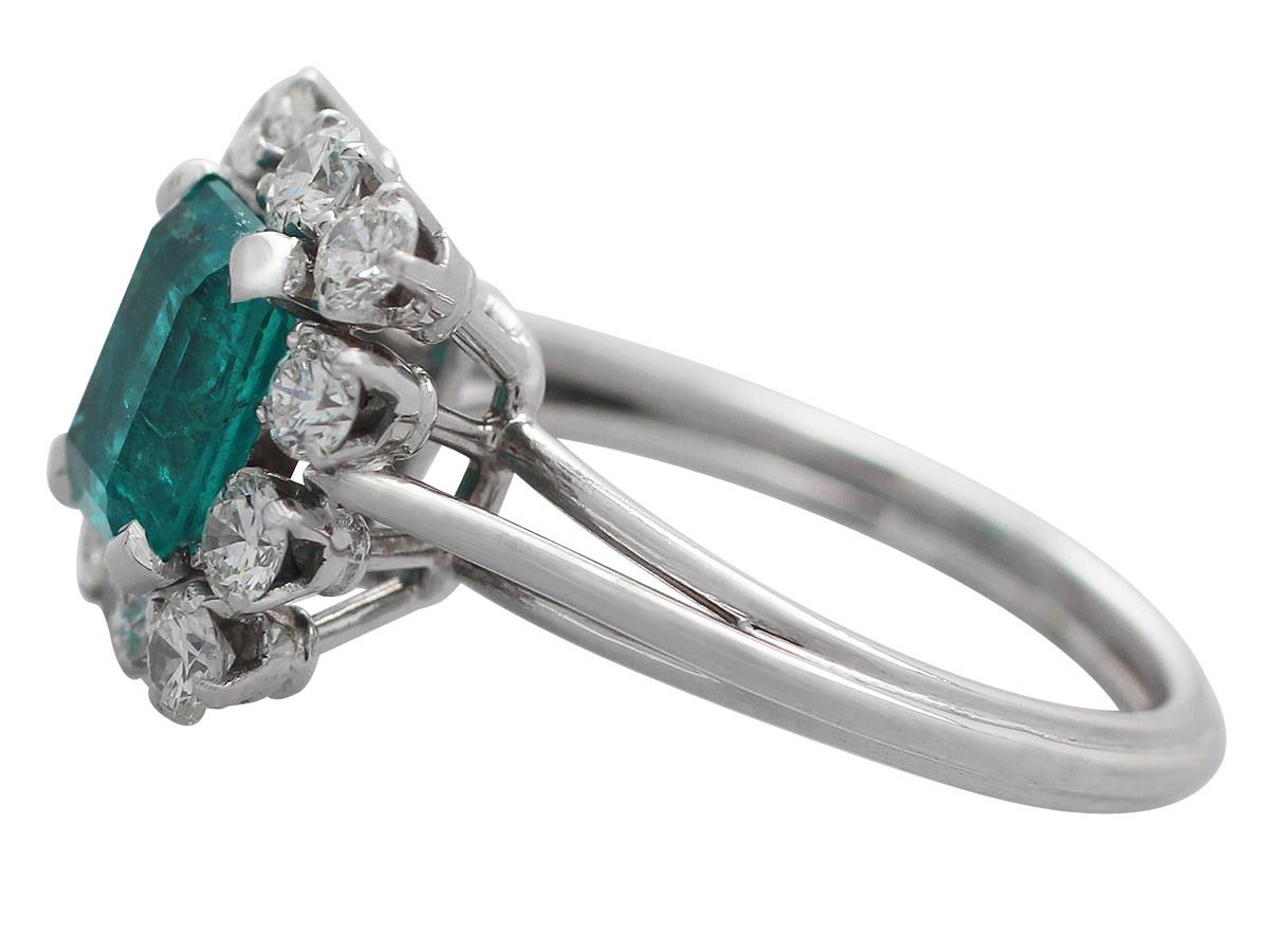 Women's 1.60Ct Emerald & 0.78Ct Diamond, Platinum Cluster Ring - Vintage French For Sale