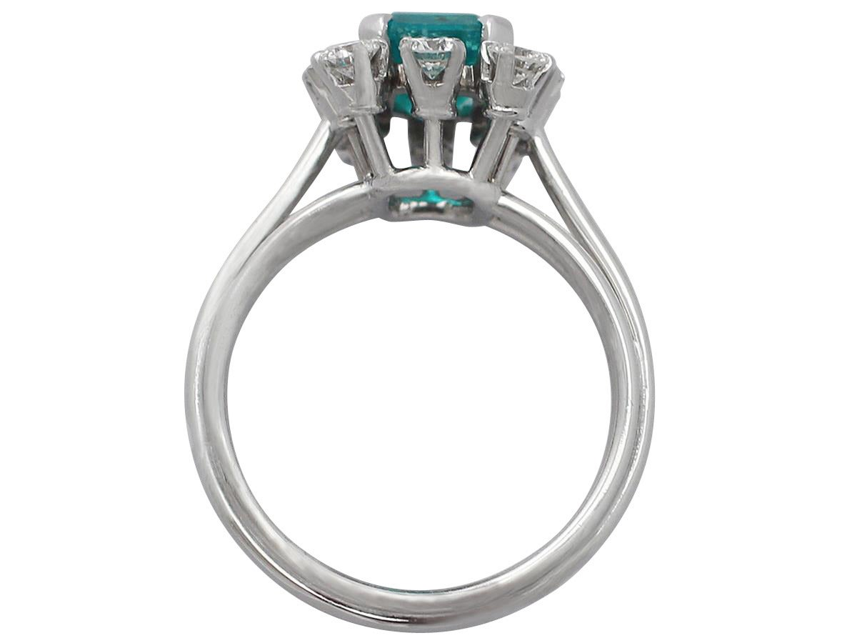 1.60Ct Emerald & 0.78Ct Diamond, Platinum Cluster Ring - Vintage French 5