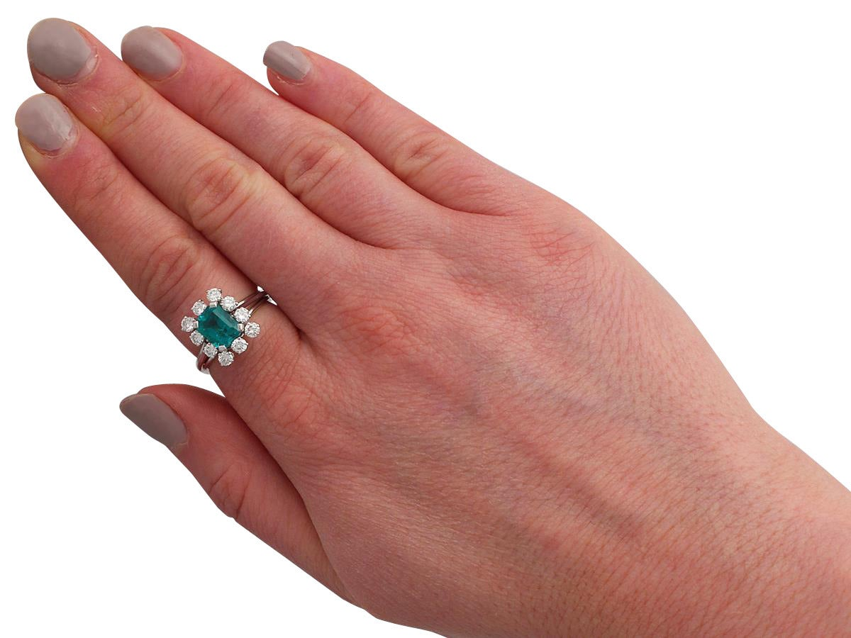1.60Ct Emerald & 0.78Ct Diamond, Platinum Cluster Ring - Vintage French 7