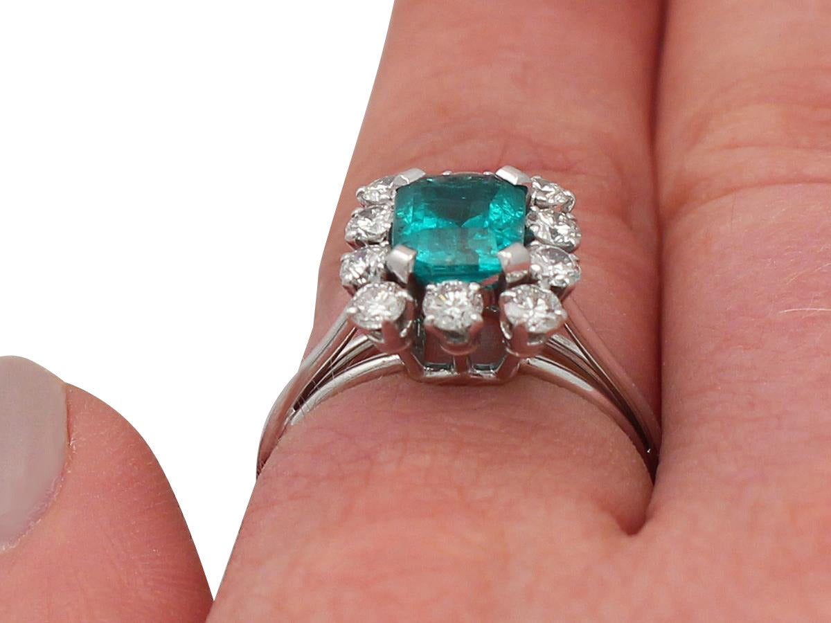 1.60Ct Emerald & 0.78Ct Diamond, Platinum Cluster Ring - Vintage French 9