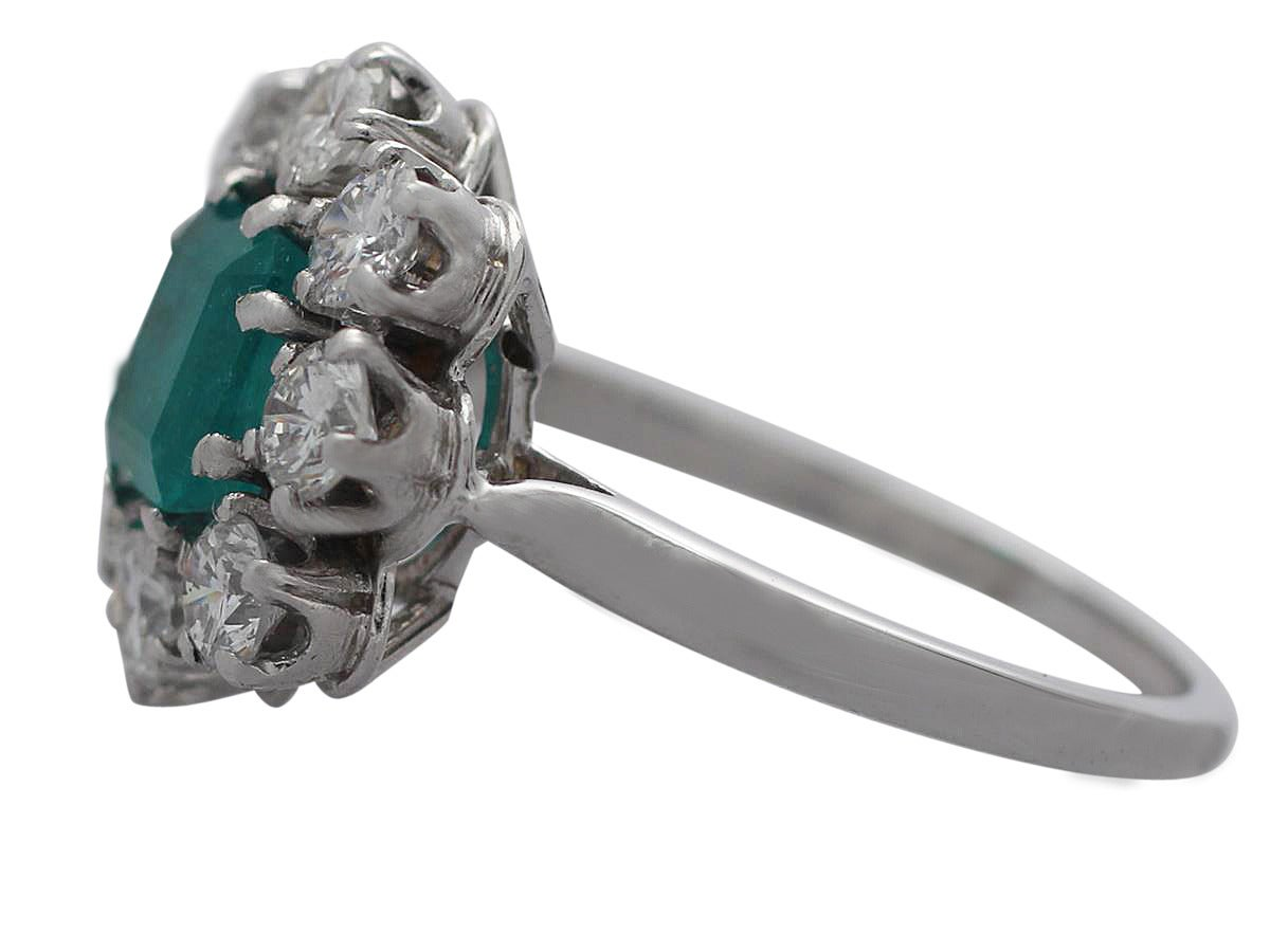 1 30Ct Emerald and 1 66Ct Diamond 1k White Gold Cluster Ring Vintage Circa