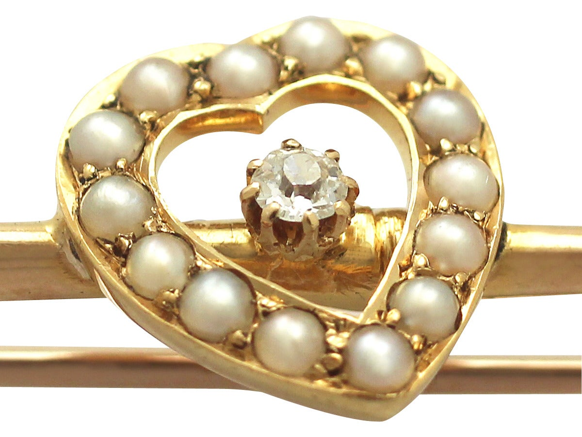 Women's Diamond and Seed Pearl Yellow Gold Brooch, Antique Victorian For Sale