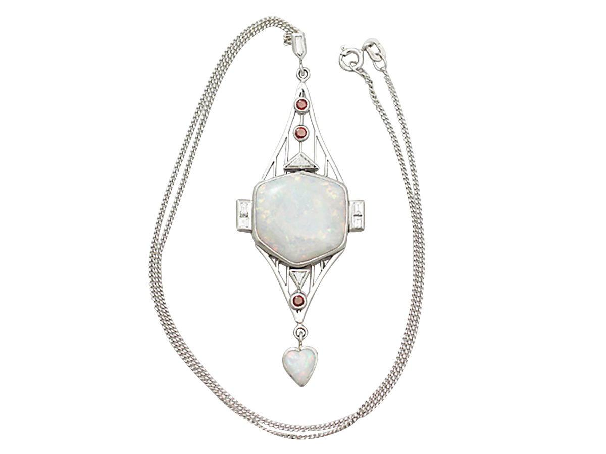 Opal, 0.85Ct Diamond, & 0.15Ct Ruby, Platinum Pendant - Art Deco Style 2