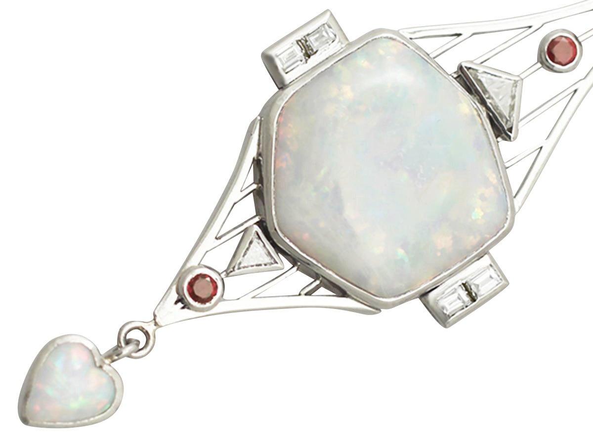 Opal, 0.85Ct Diamond, & 0.15Ct Ruby, Platinum Pendant - Art Deco Style 3
