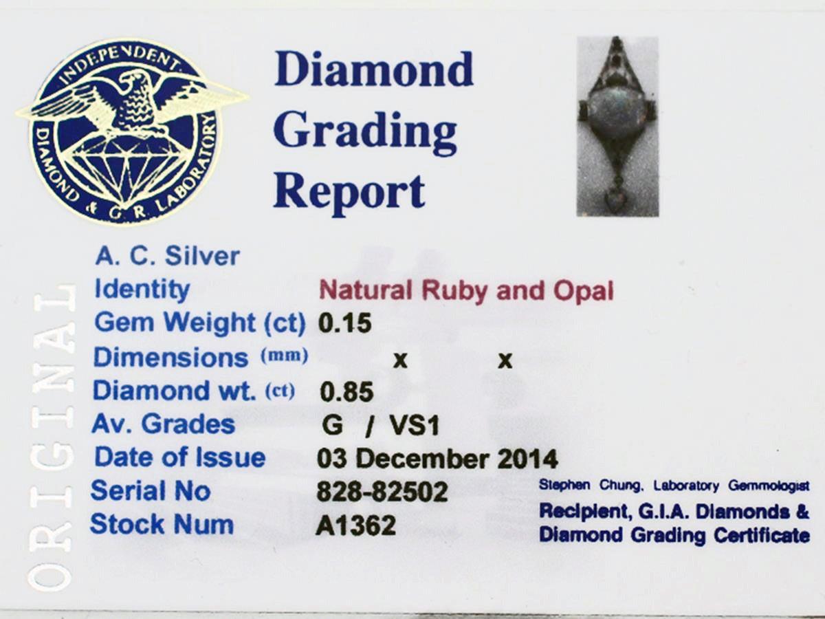 Opal, 0.85Ct Diamond, & 0.15Ct Ruby, Platinum Pendant - Art Deco Style 7
