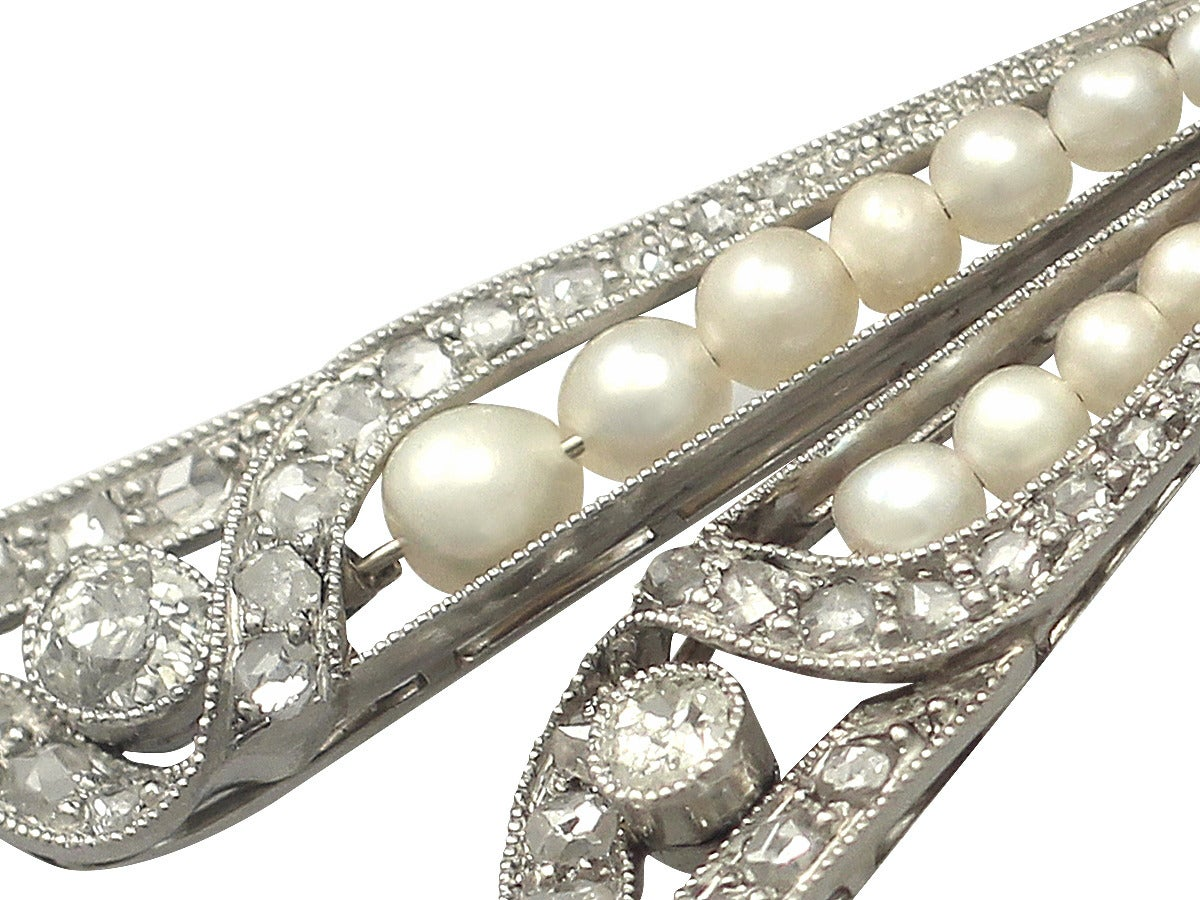 Women's Pearl and 0.68Ct Diamond, Platinum Bow Brooch - Antique Victorian