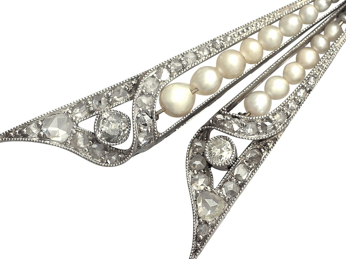 Pearl and 0.68Ct Diamond, Platinum Bow Brooch - Antique Victorian 1
