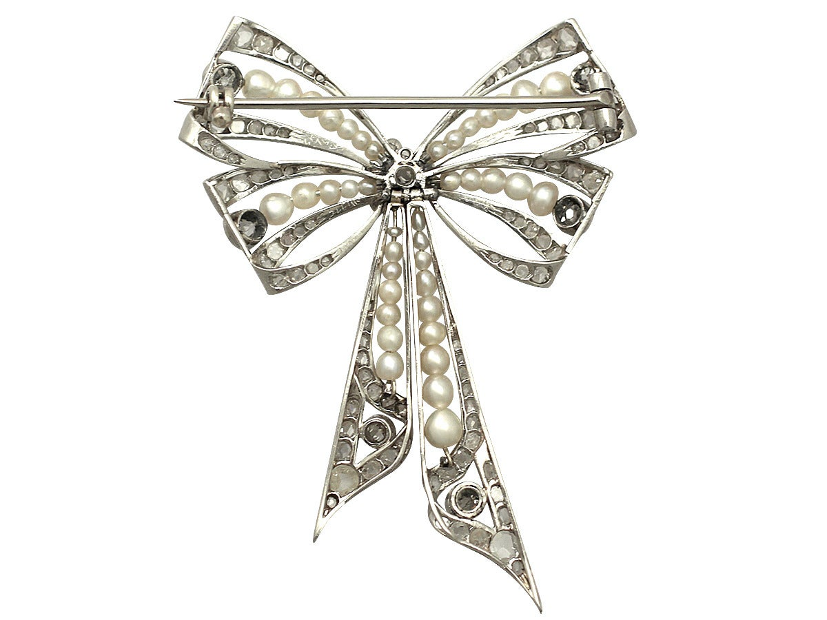 Pearl and 0.68Ct Diamond, Platinum Bow Brooch - Antique Victorian 4