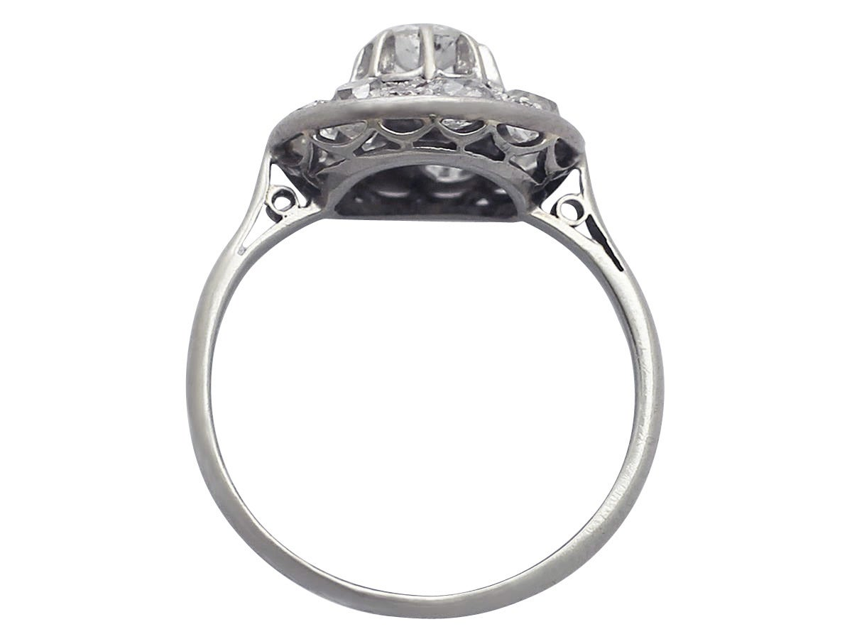 Women's 1930s Antique Diamond & White Gold Cocktail Ring  For Sale