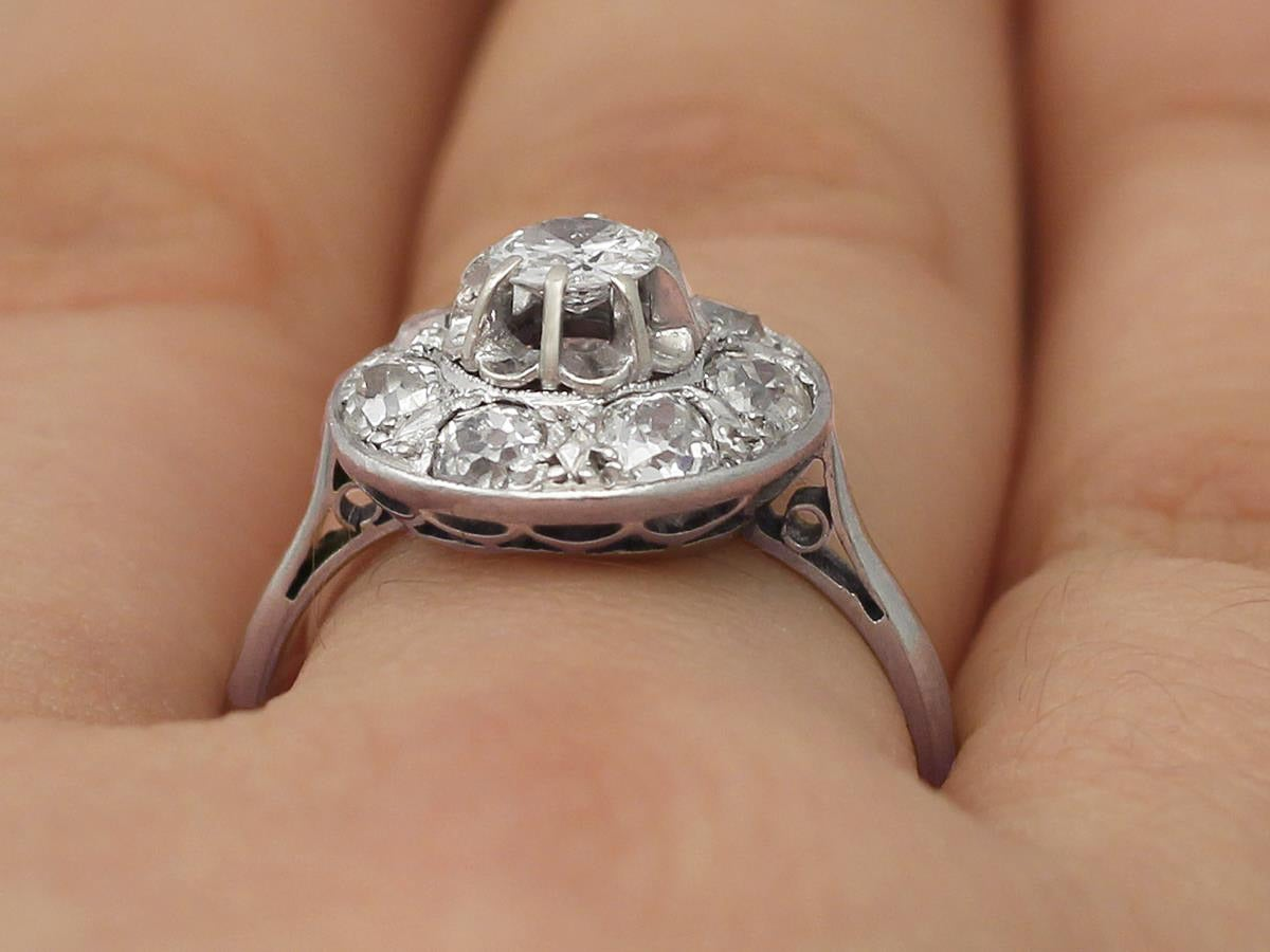 1930s Antique Diamond & White Gold Cocktail Ring  For Sale 4