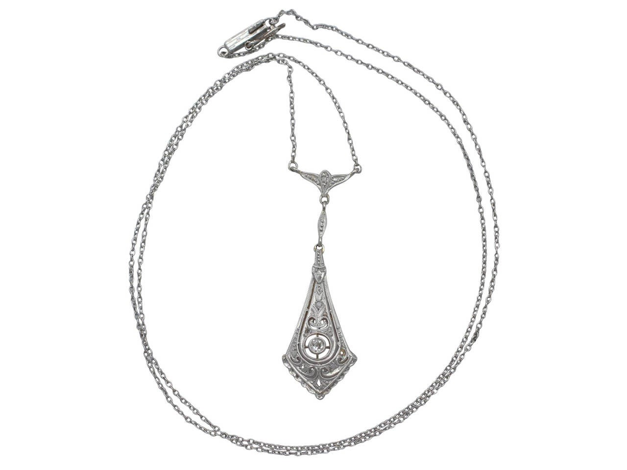 0.14 Ct Diamond and 14 k White Gold Pendant - Art Deco Style - Antique 2