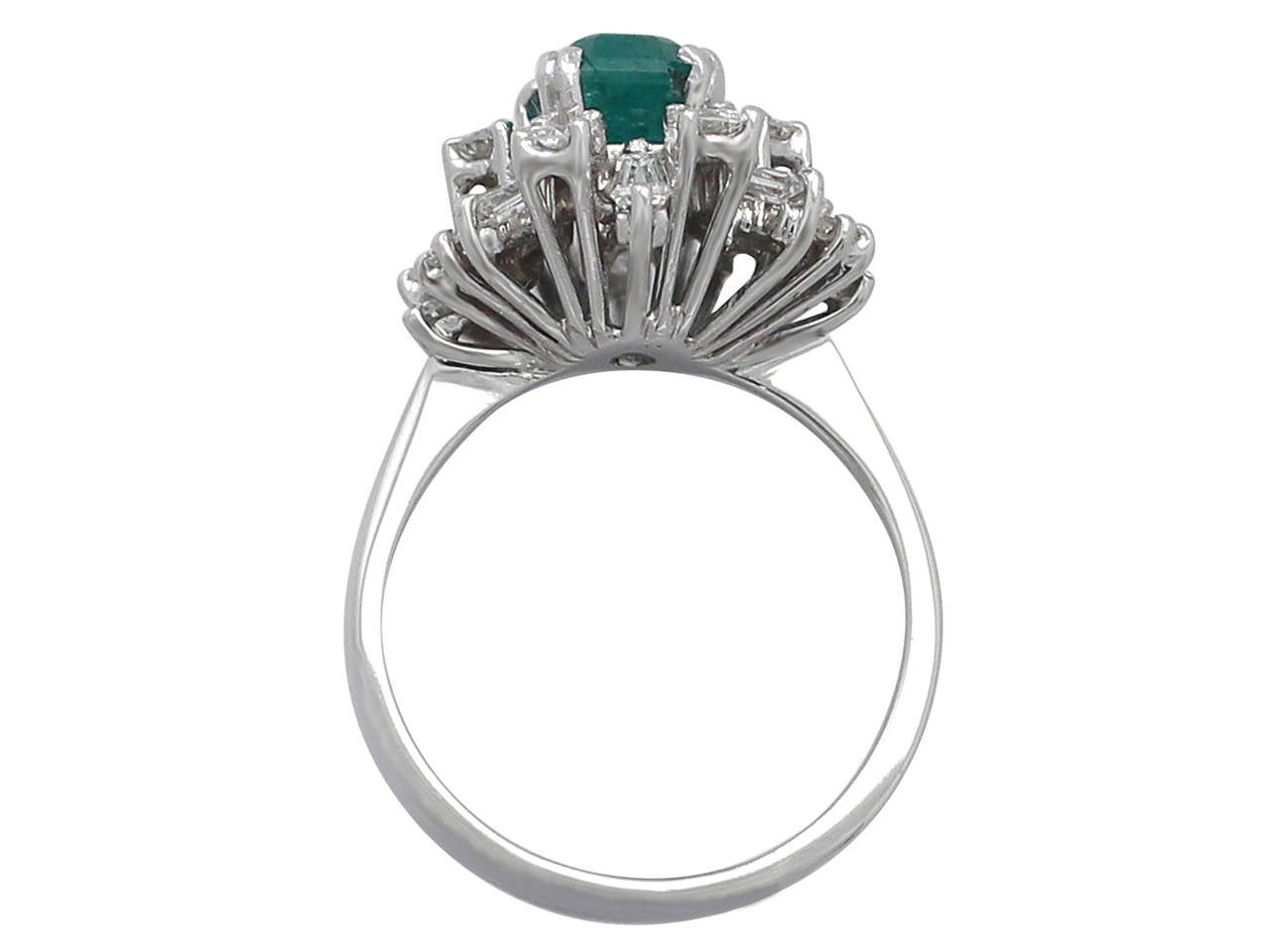 1 48ct emerald and 1 08ct 18k white gold cluster