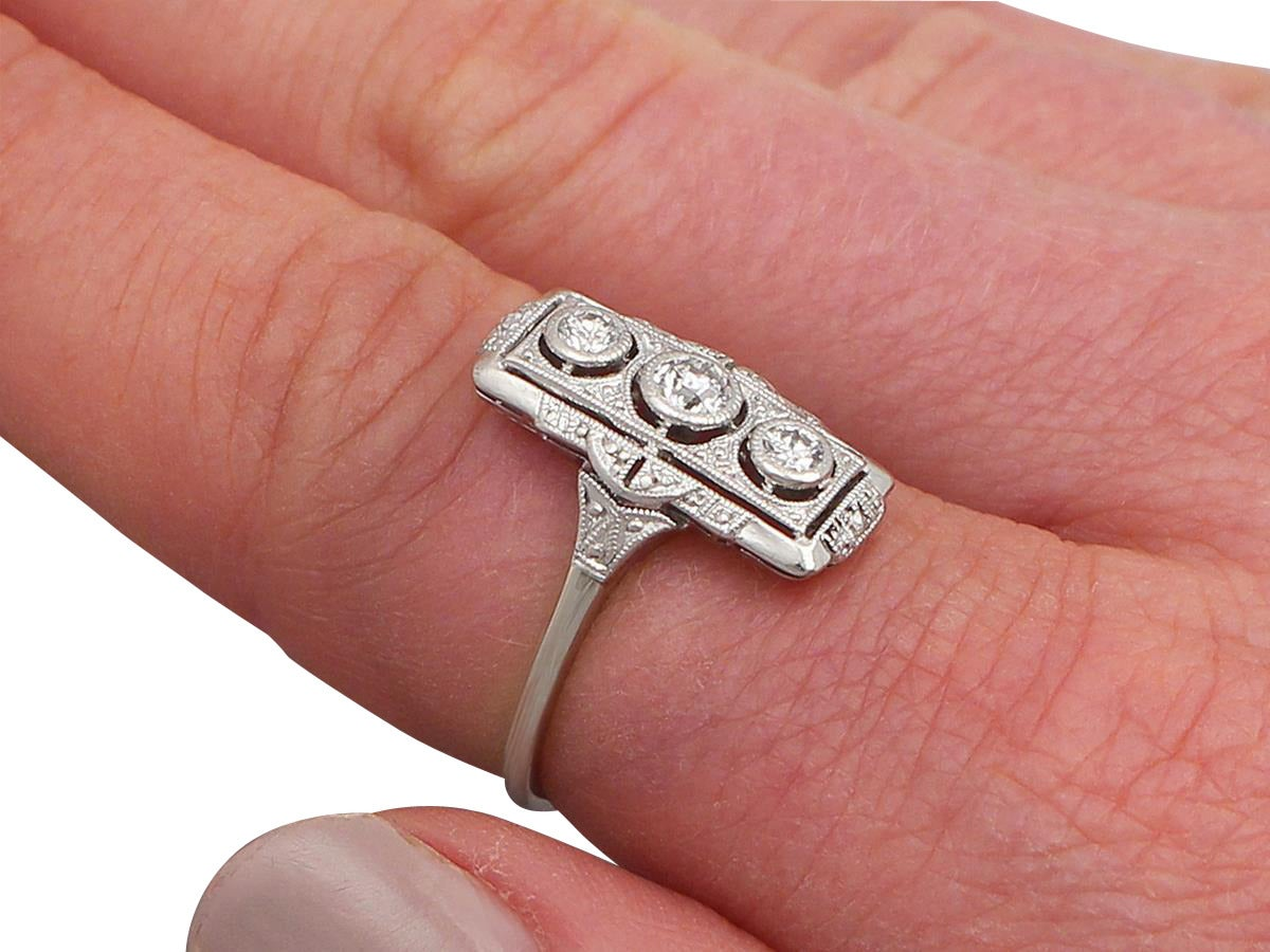 0.42Ct Diamond and 14k White Gold Ring - Art Deco Style - Antique ...
