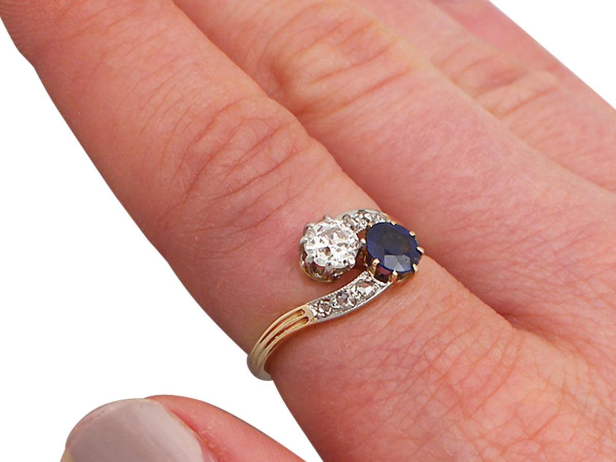 0.45Ct Sapphire and 0.52Ct Diamond, 14k Yellow Gold Twist Ring ...