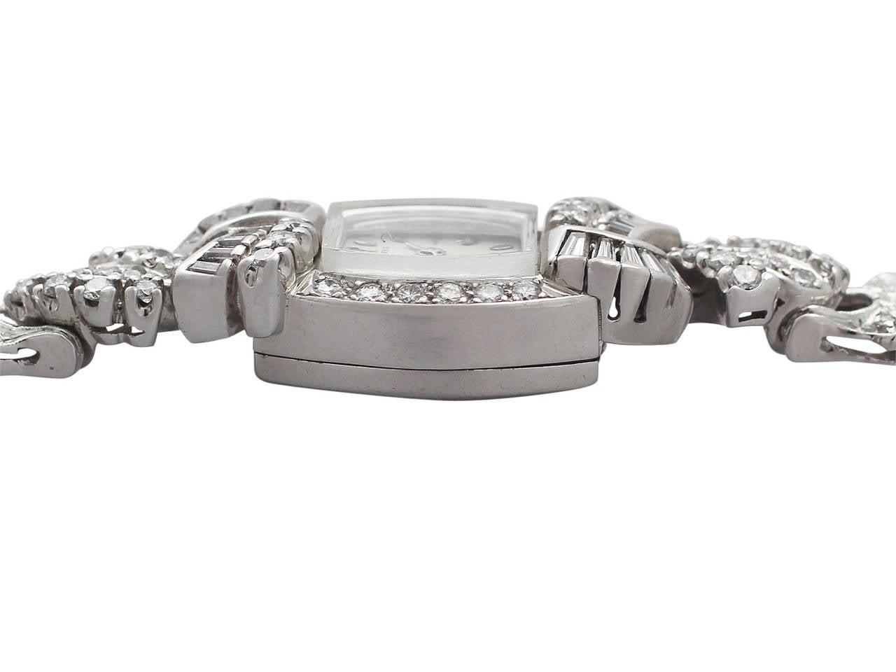 1950s 2.26 carat Diamond Platinum and White Gold Longines Cocktail Watch 3