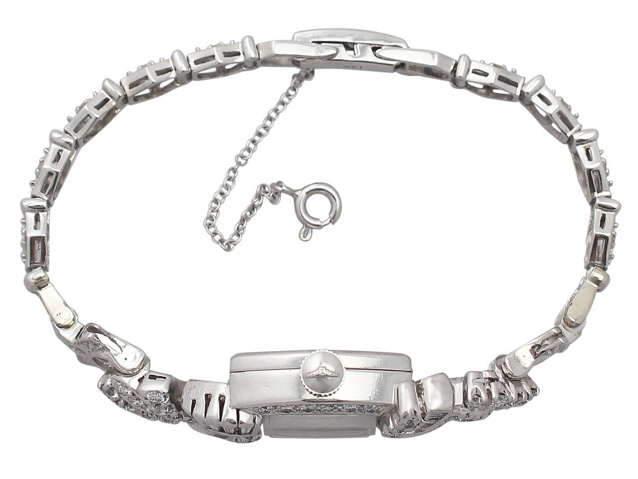 1950s 2.26 carat Diamond Platinum and White Gold Longines Cocktail Watch 4