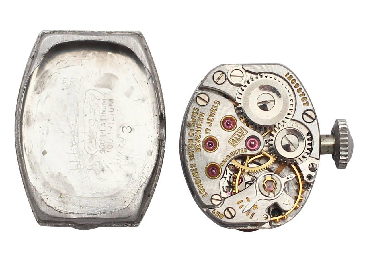 1950s 2.26 carat Diamond Platinum and White Gold Longines Cocktail Watch 6