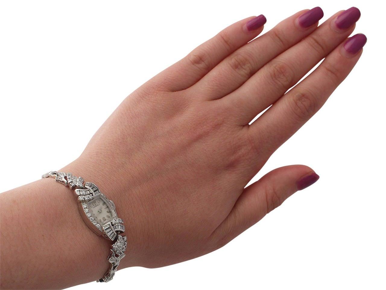 1950s 2.26 carat Diamond Platinum and White Gold Longines Cocktail Watch 9