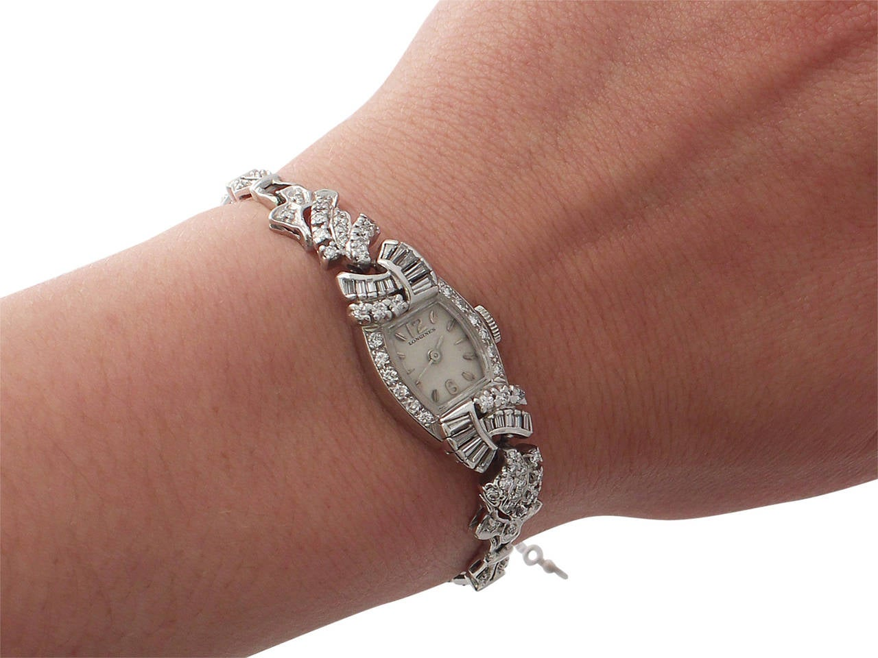 1950s 2.26 carat Diamond Platinum and White Gold Longines Cocktail Watch 10