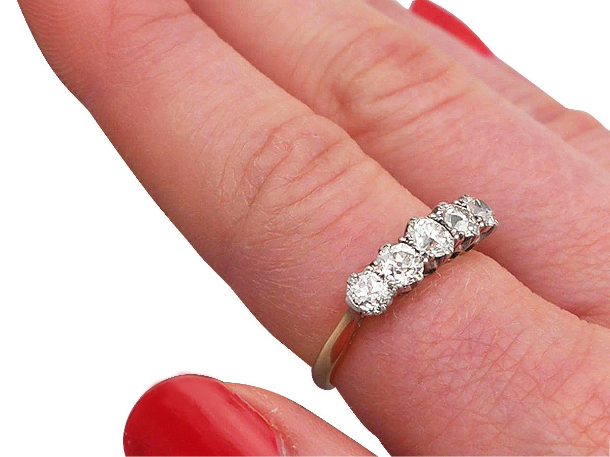 1.55Ct Diamond and 18k Yellow Gold Five Stone Ring - Antique Circa ...