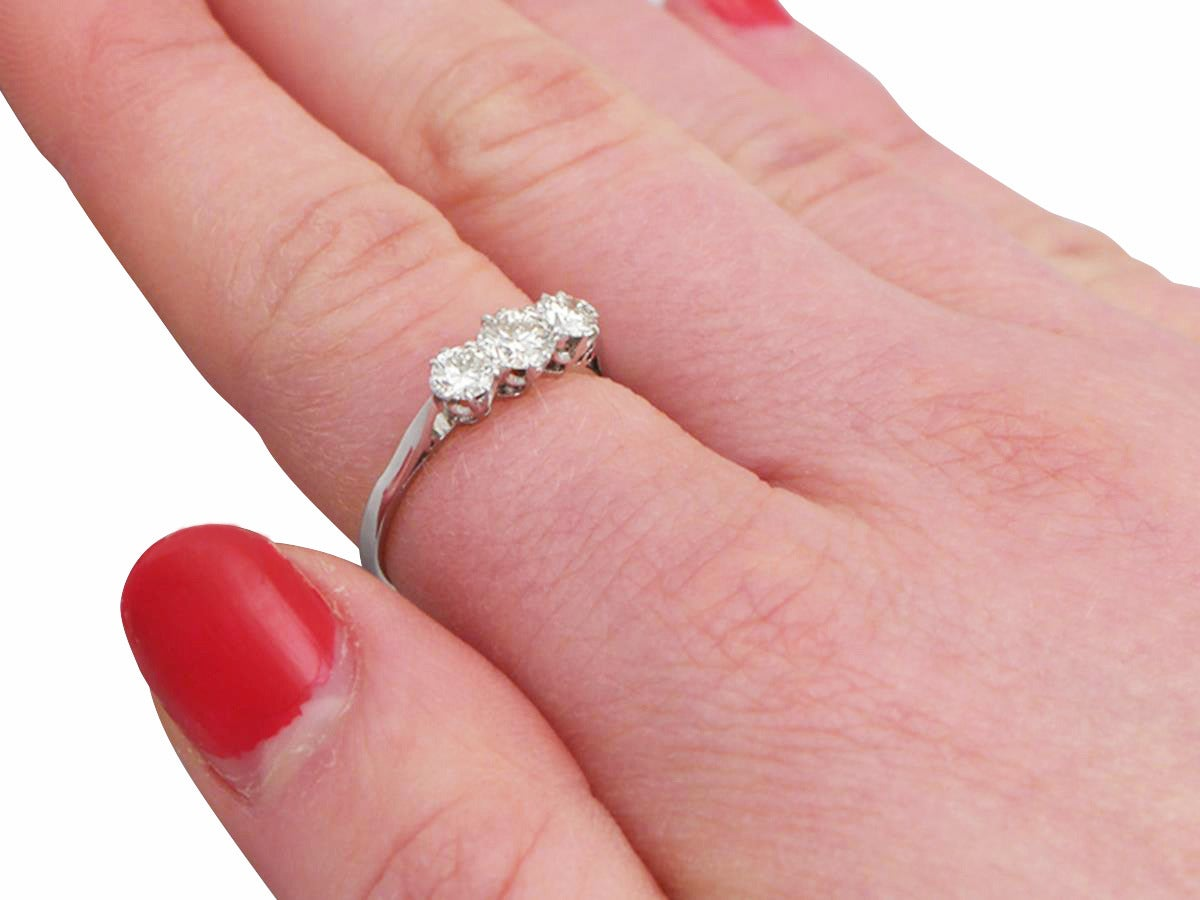 0.80Ct Diamond and 18k White Gold Three Stone Ring - Antique Circa ...