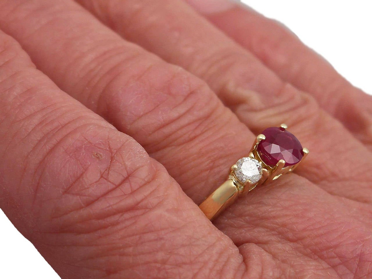 1.32Ct Ruby & 0.46Ct Diamond, 18k Yellow Gold Trilogy Ring - Contemporary  For Sale 3
