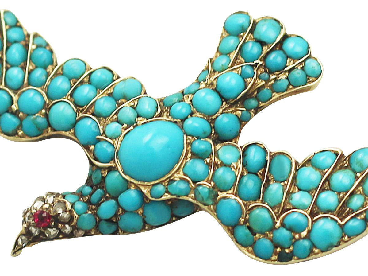 Antique Turquoise Diamond Gold Dove Brooch  3
