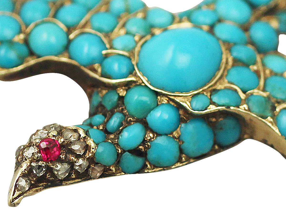 Antique Turquoise Diamond Gold Dove Brooch  4