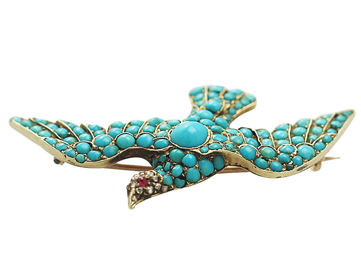 Antique Turquoise Diamond Gold Dove Brooch  5