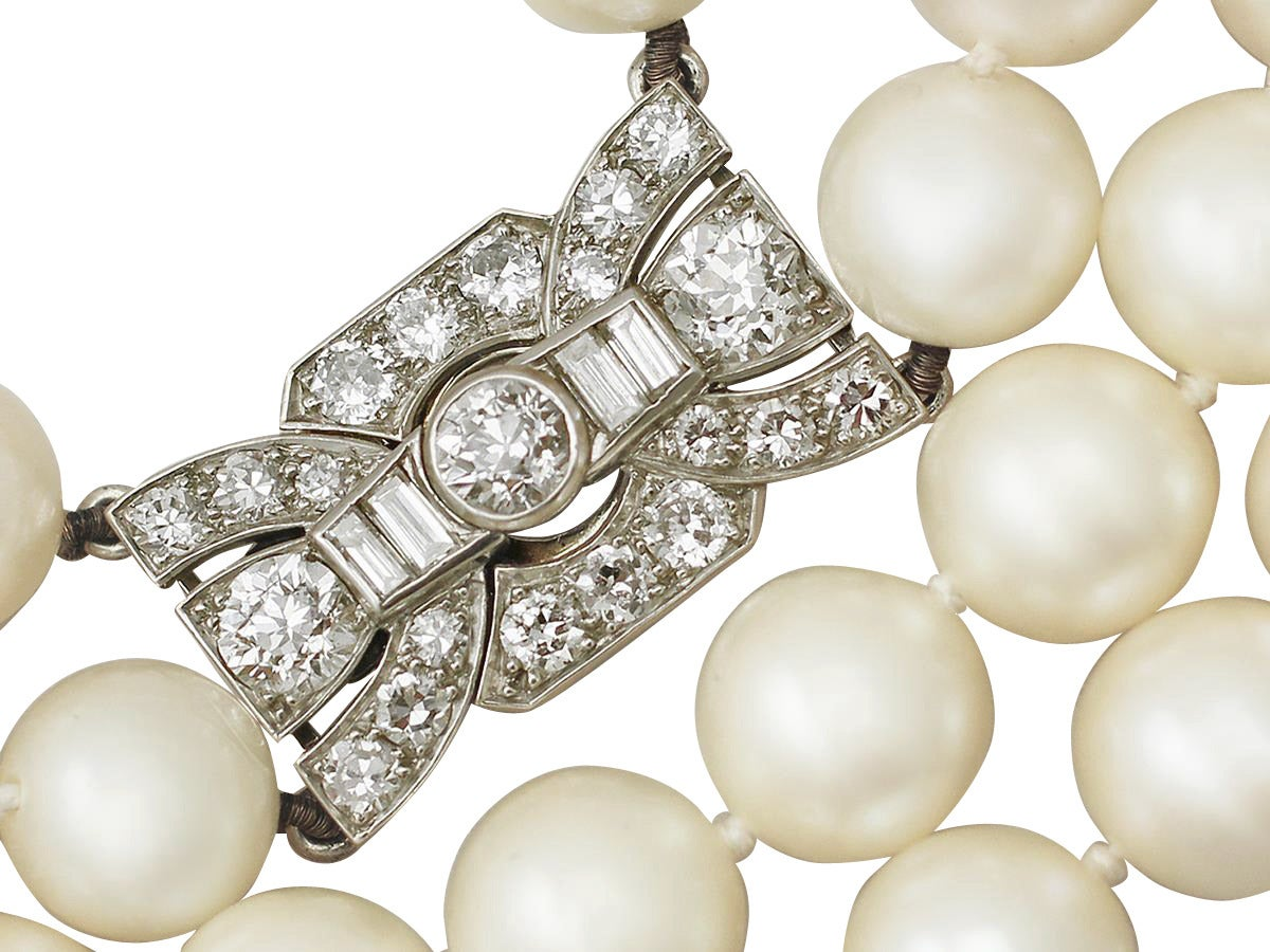 Double Strand Pearl Necklace With 178ct Diamond Set Clasp  Antique &  Vintage 3