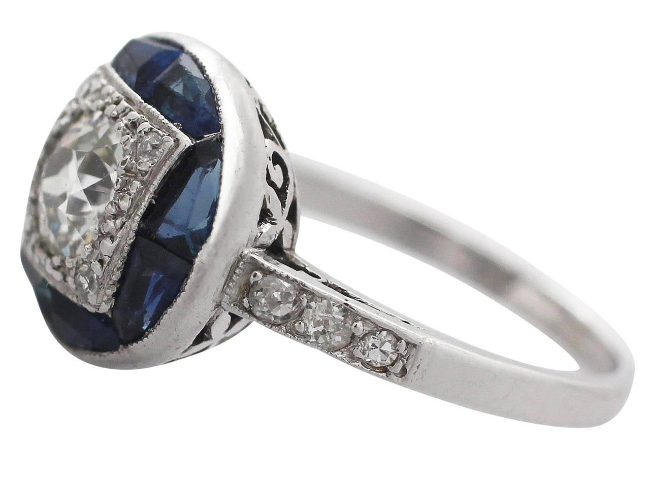 1920s antique sapphire and white gold ring for