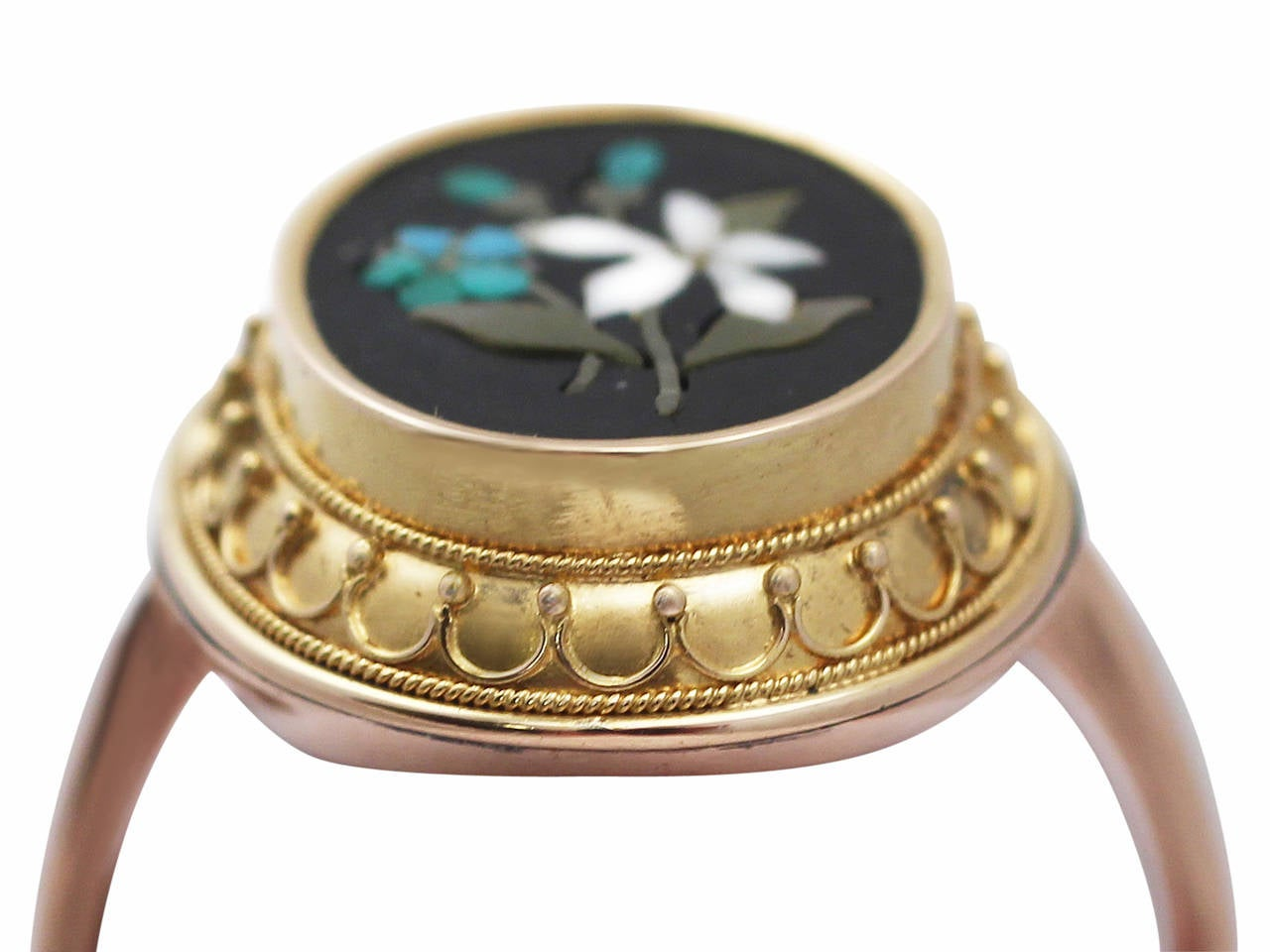 pietra dura 9 ct gold and 18 ct yellow gold dress
