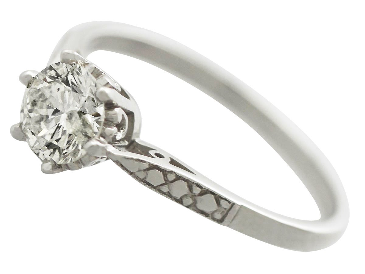 0 69 ct Diamond and Platinum Solitaire Ring Vintage Circa 1960 at 1stdibs