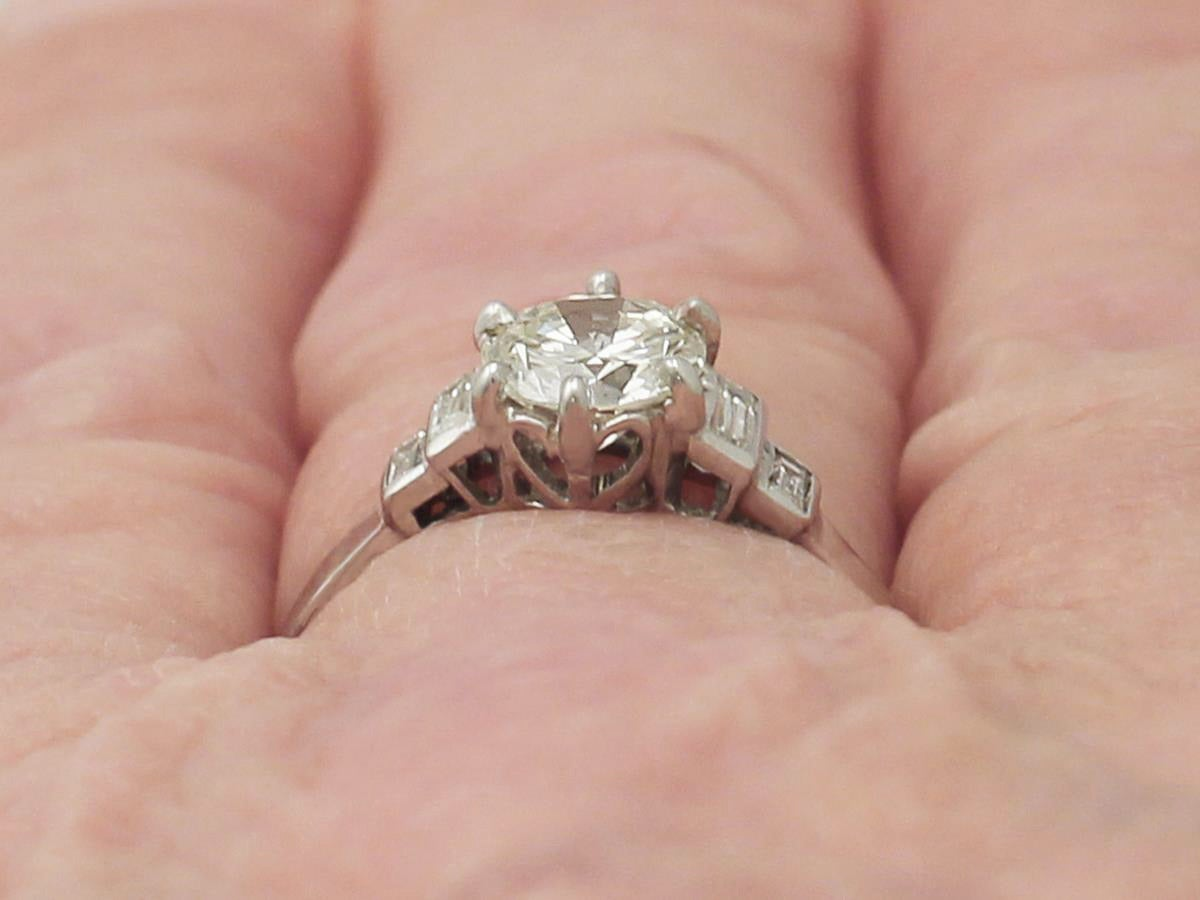 Vintage 1940s Diamond and White Gold Solitaire Ring - Art Deco Style ...