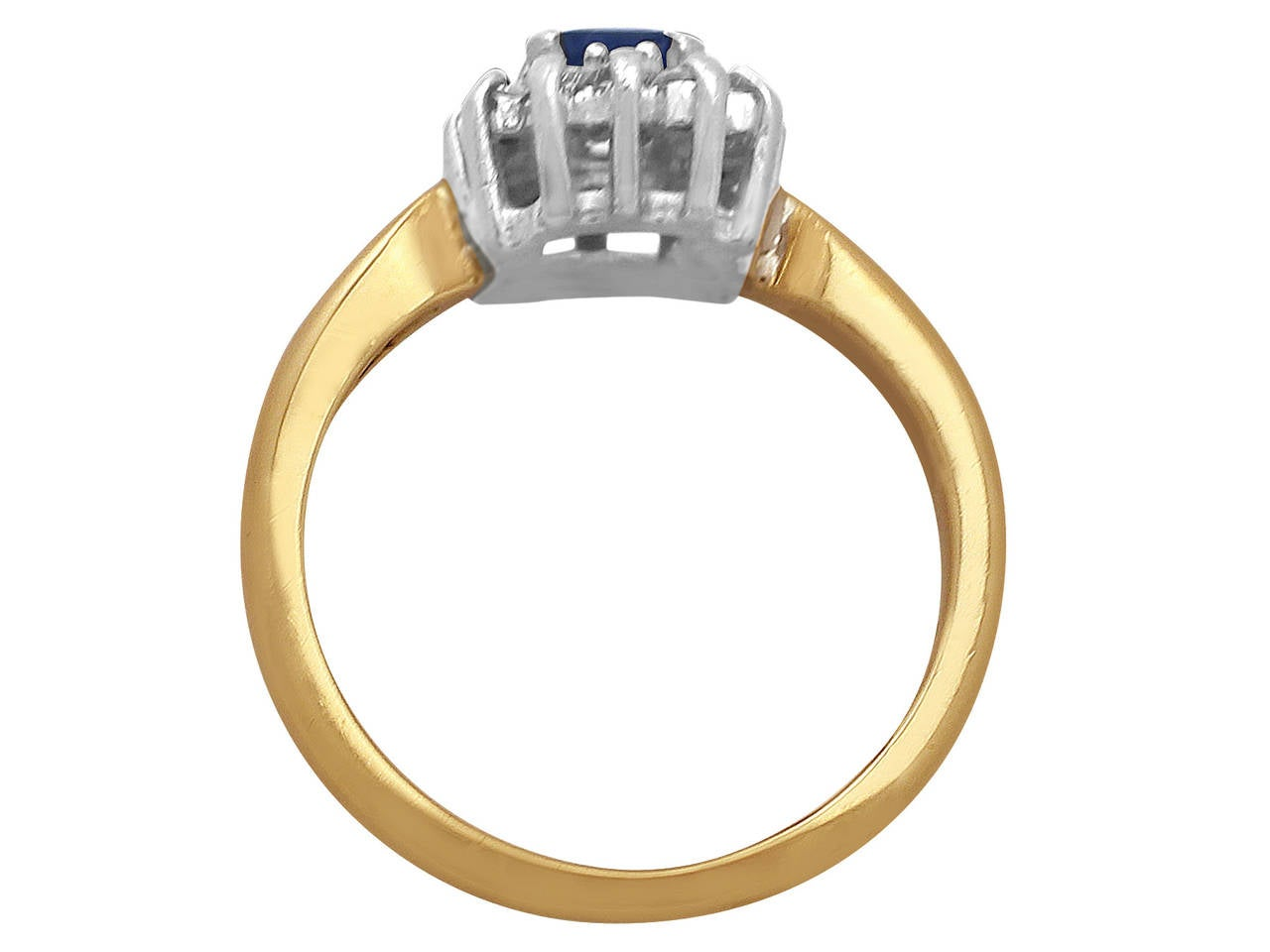 0.48Ct Sapphire & 0.35Ct Diamond, 18k Yellow Gold Cluster Ring - Vintage 5
