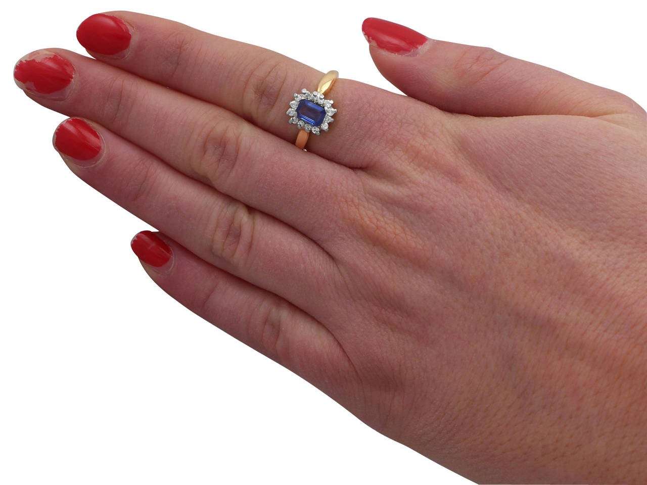 0.48Ct Sapphire & 0.35Ct Diamond, 18k Yellow Gold Cluster Ring - Vintage 7