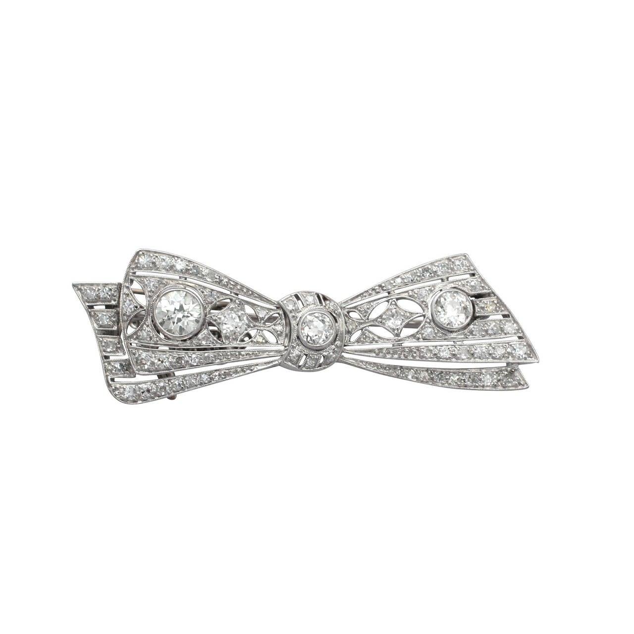 2.55Ct Diamond, 18k White Gold Bow Brooch - Antique Circa 1900