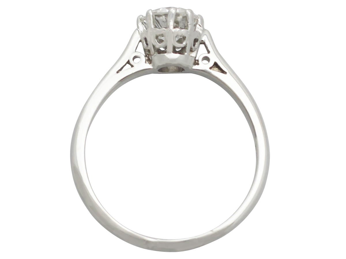 0 81Ct Diamond and 18k White Gold Solitaire Ring Circa 1960 and 1972 For Sa