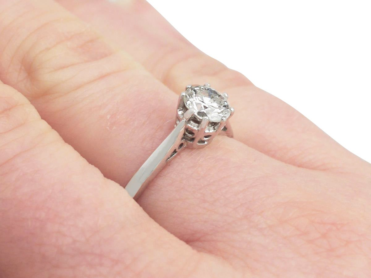 Diamond and White Gold Solitaire Ring - Circa 1960 and 1972 For Sale ...