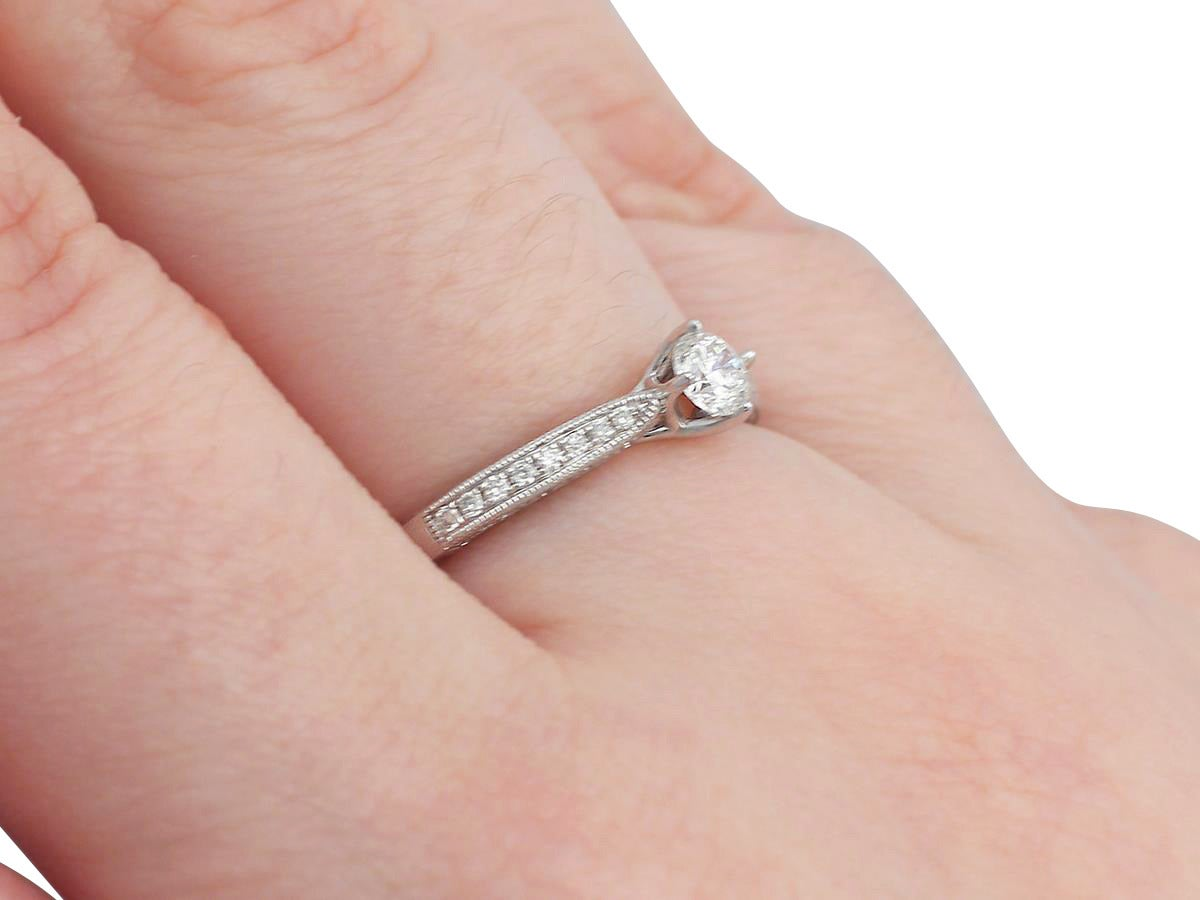 0.24Ct Diamond and Platinum Solitaire Ring - Circa 1980 and ...