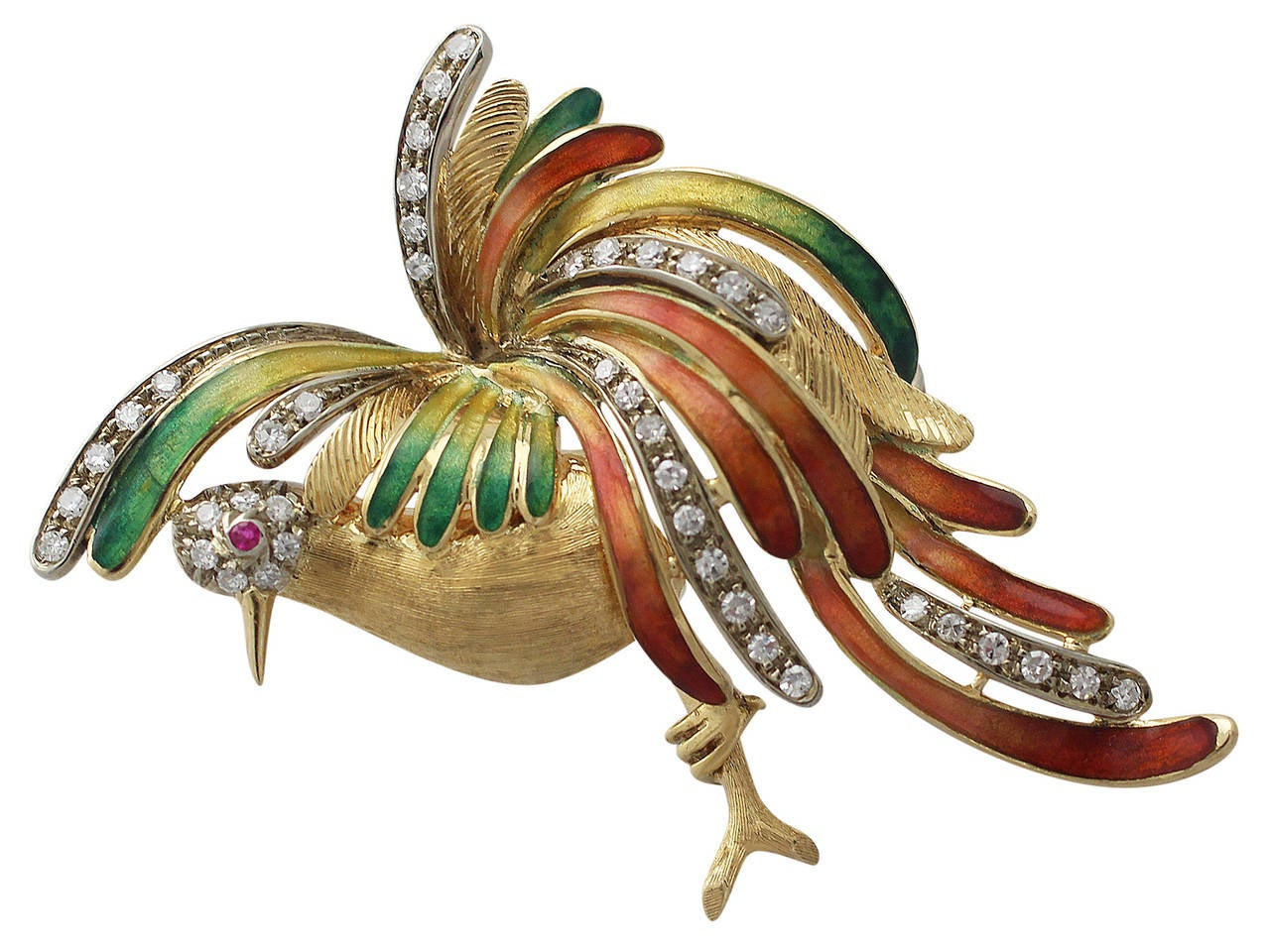 0.75Ct Diamond & 0.02Ct Ruby, Enamel & 18k Yellow Gold Bird Brooch - Vintage 2
