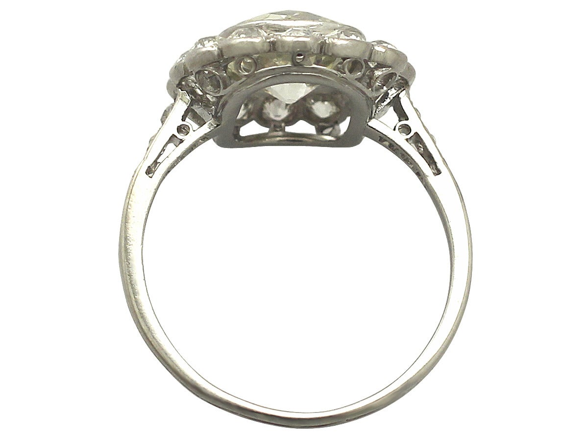 1910s 4.47 Carat Diamond and Platinum Cluster Ring  5