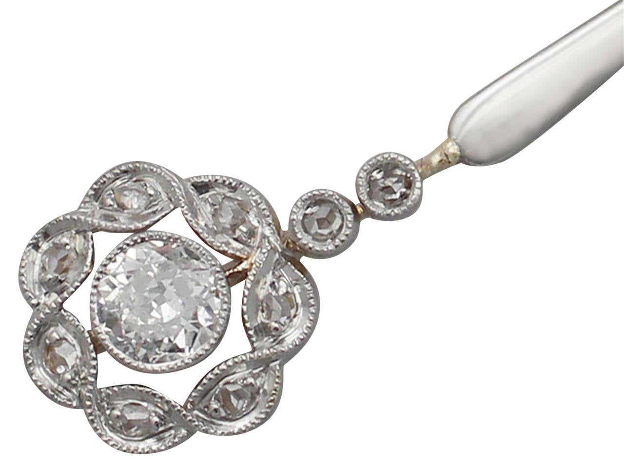 Women's 0.57 Ct Diamond, 18 k Yellow Gold, 18 k White Gold Set Pendant - Antique For Sale