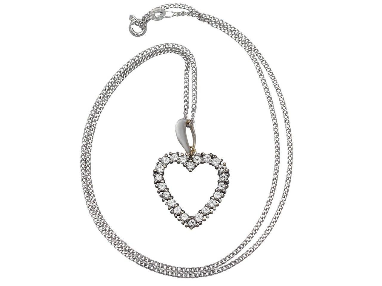 1.20Ct Diamond and 18k White Gold Heart Pendant - Vintage European ...