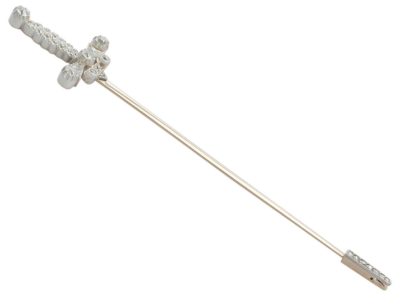 A large, fine and stunning antique Edwardian 1.59 carat diamond and 9 karat yellow gold, silver set, jabot pin brooch in the form of a sword; part of our diverse diamond jewelry and estate jewelry collections