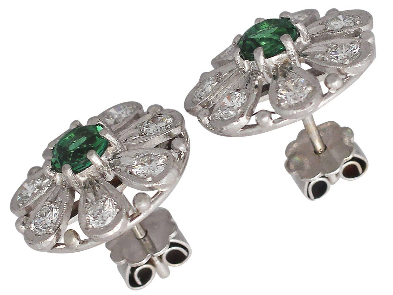 0.80 ct Tourmaline and 0.80 ct Diamond, 14k White Gold Earrings 2