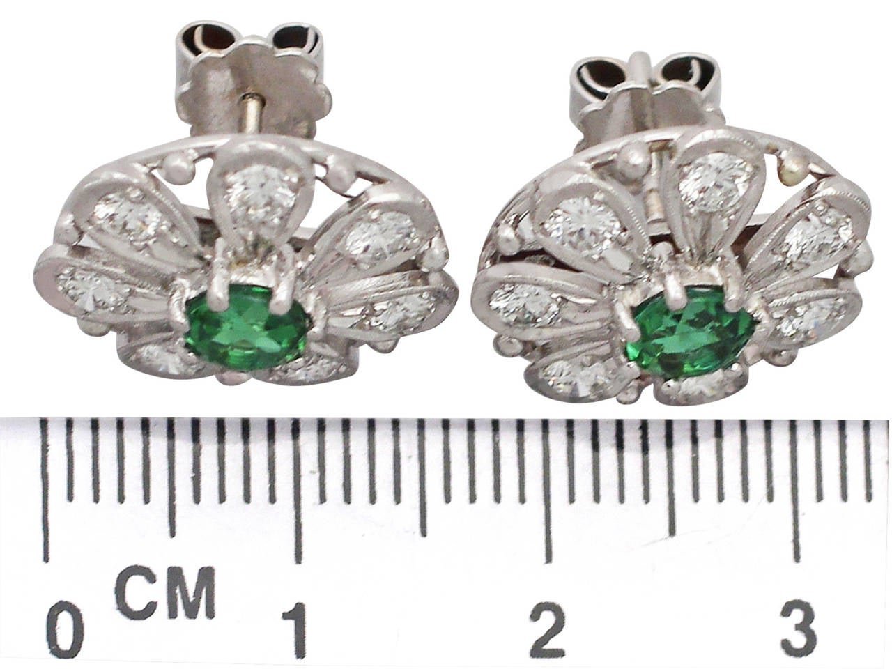 0.80 ct Tourmaline and 0.80 ct Diamond, 14k White Gold Earrings 6